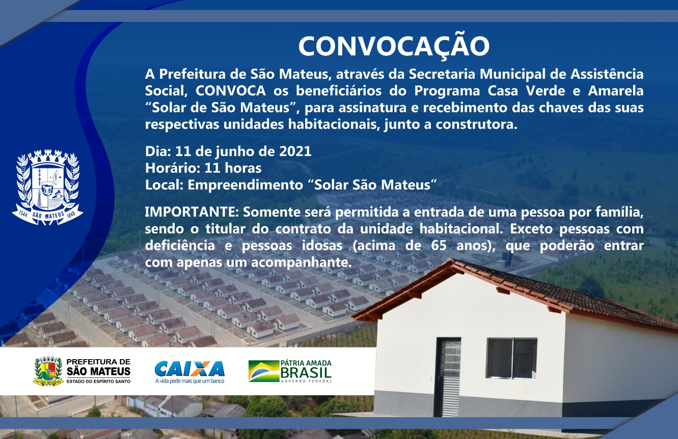 CONVOCAÇÃO CASA VERDE E AMARELA SOLAR DE SÃO MATEUS