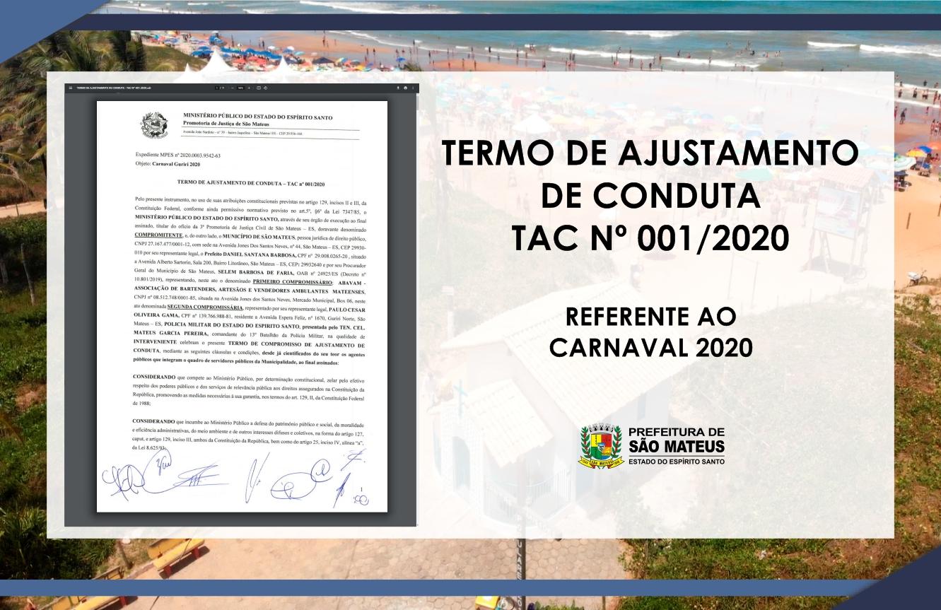 PREFEITURA DE SÃO MATEUS ASSINA TERMO DE AJUSTAMENTO DE CONDUTA