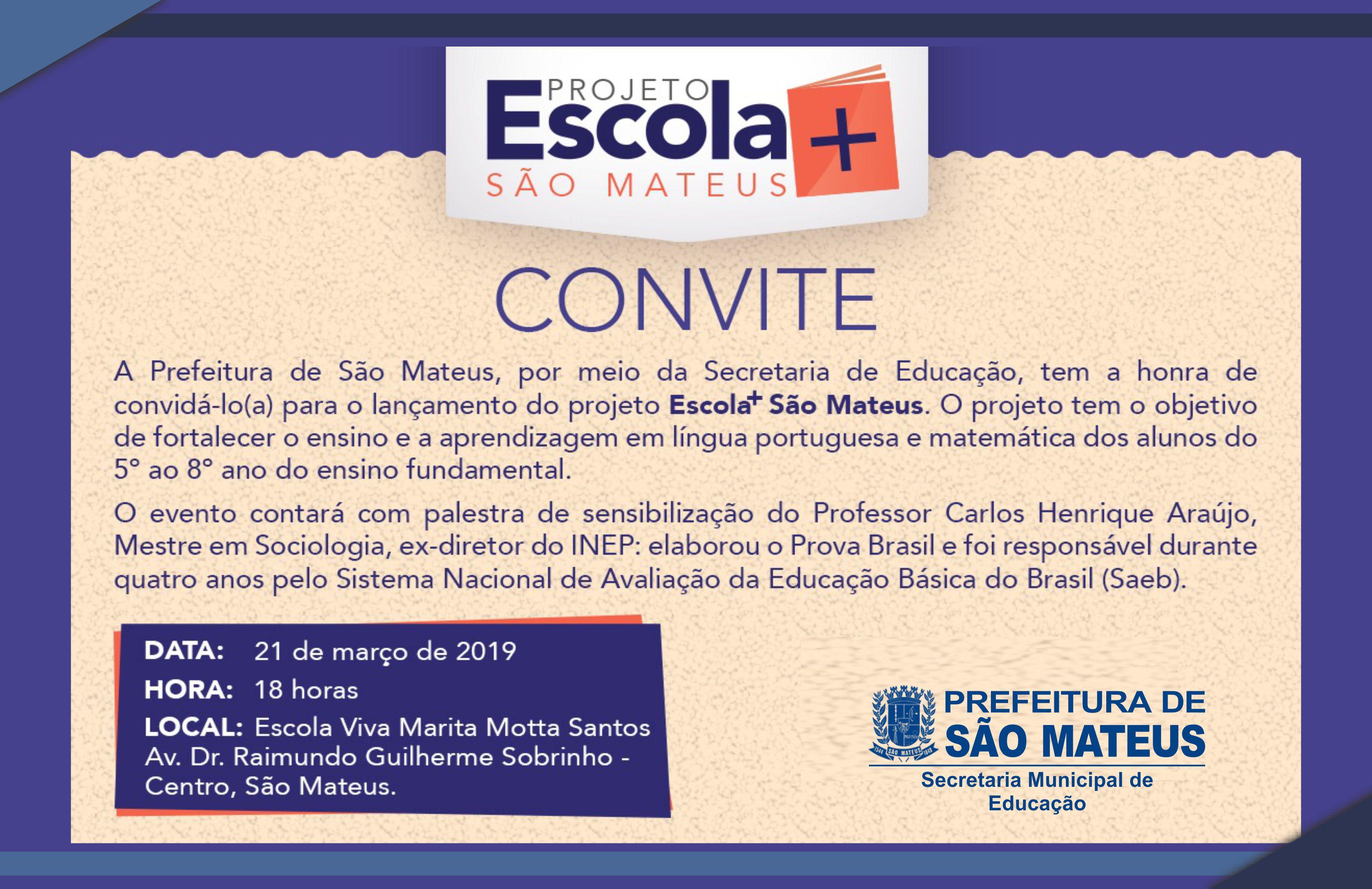 PREFEITURA LANÇA PROJETO ESCOLA+