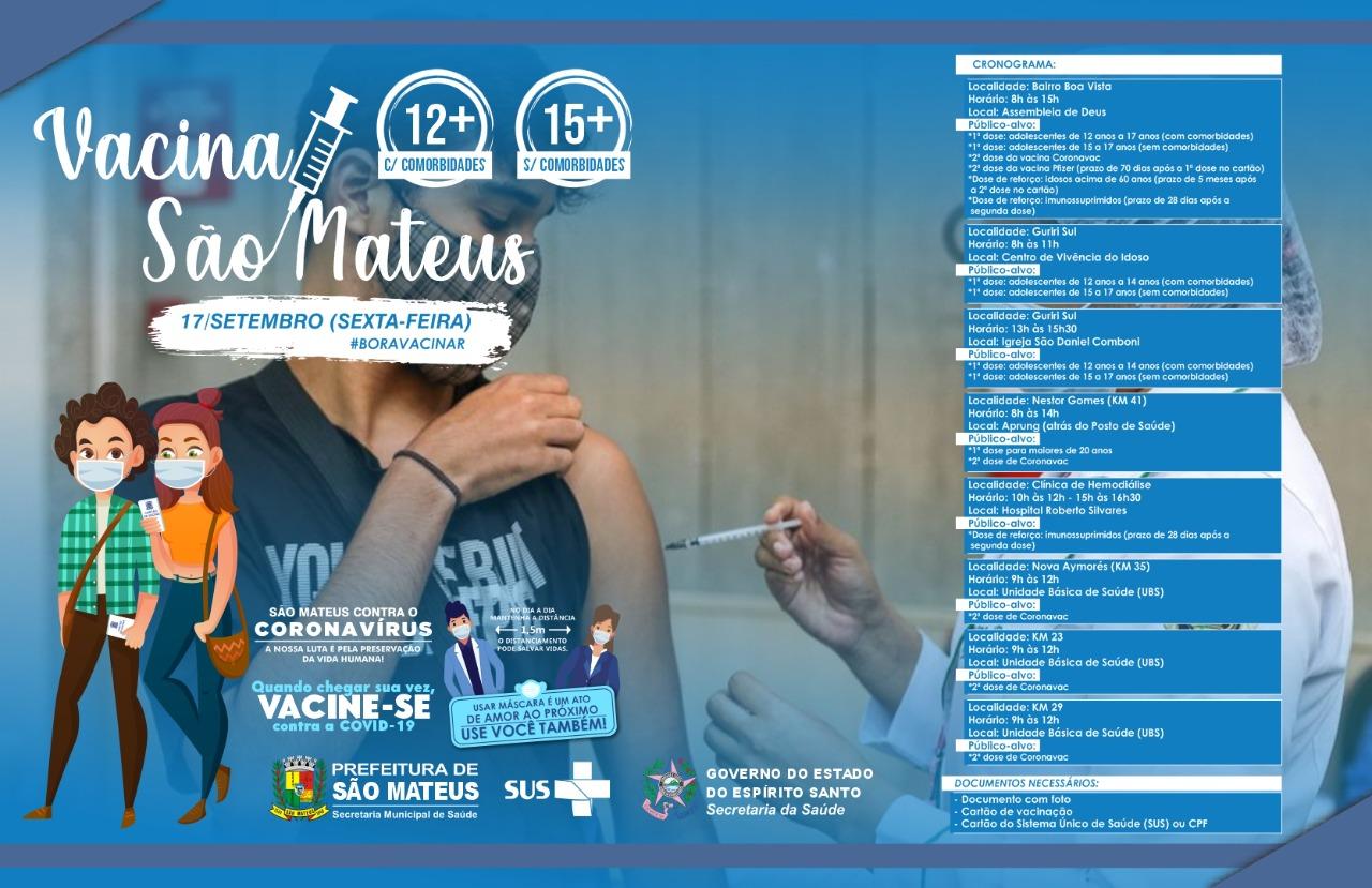 SEXTA-FEIRA (17) TEM MUTIRÃO DE VACINAÇÃO CONTRA COVID NO BOA VISTA, NO BALNEÁRIO DE GURIRI E NA ZONA RURAL DE SÃO MATEUS