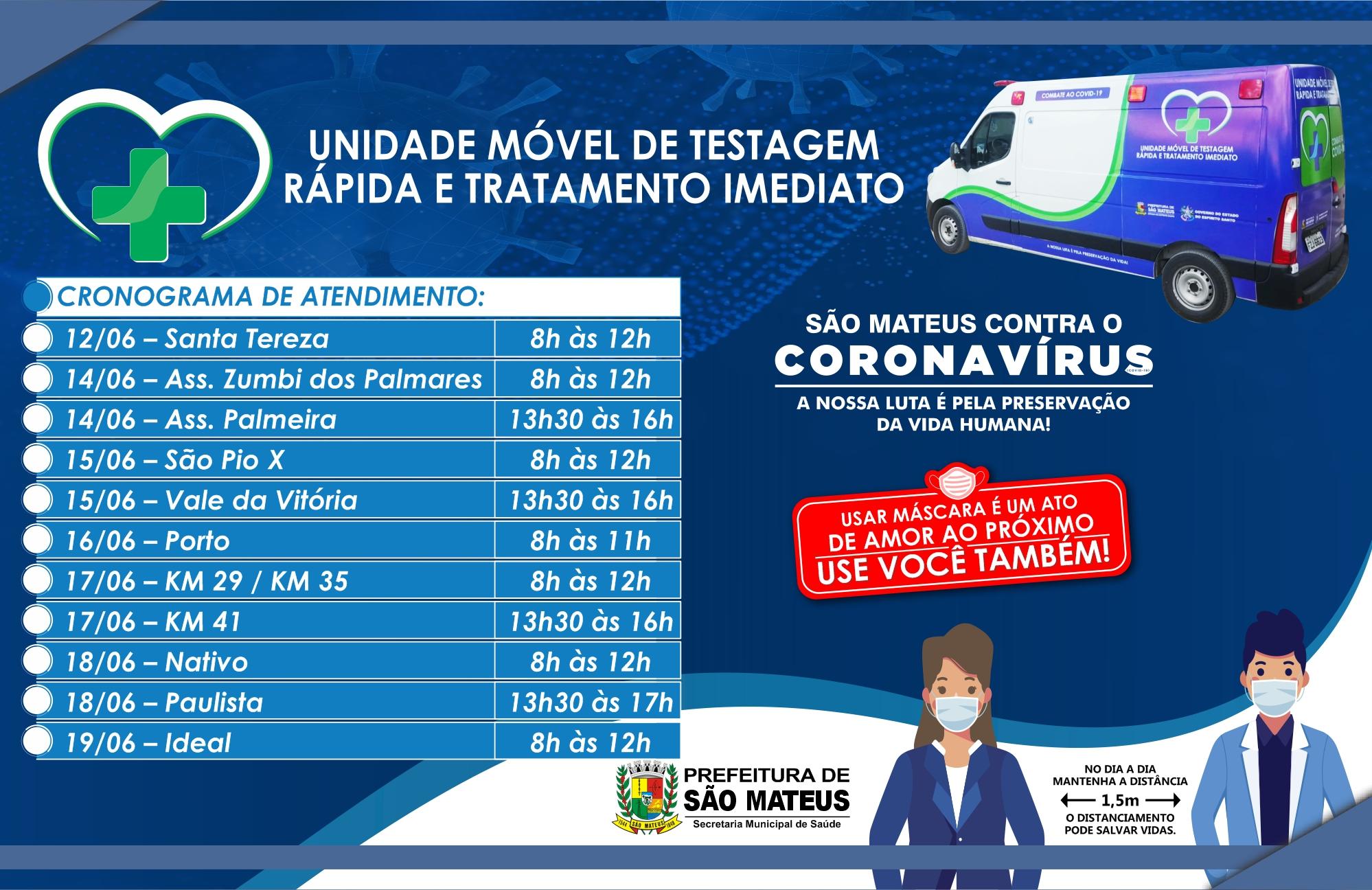 PREFEITURA DE SÃO MATEUS DIVULGA CRONOGRAMA DE ATENDIMENTO DA UNIDADE MÓVEL DE TESTAGEM RÁPIDA DA COVID