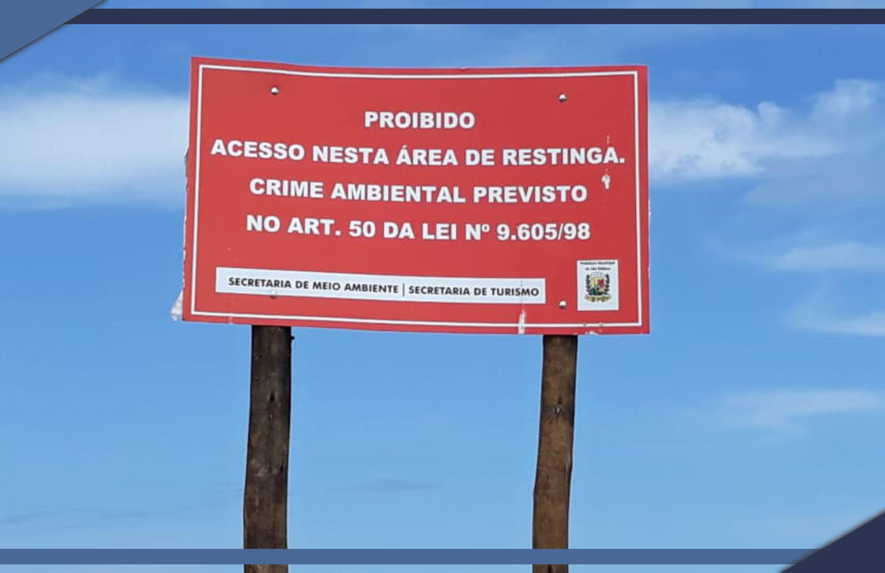 PMSM instala placas de orientação ambiental na praia de Guriri