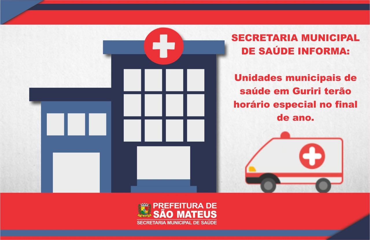 Unidades Municipais de Saúde de Guriri terão horário especial no final de ano