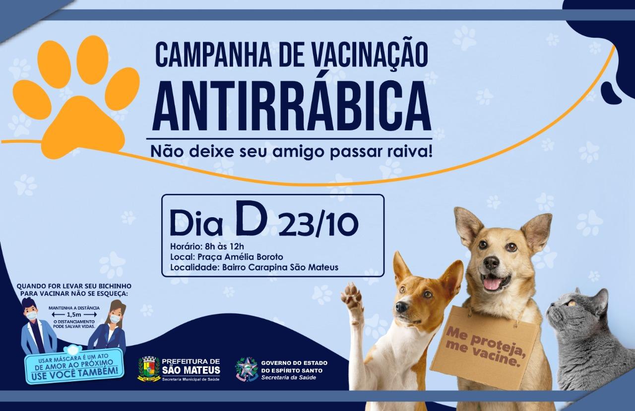VACINAÇÃO ANTIRRÁBICA: NESTE SÁBADO (23) ACONTECE O 'DIA D' DA CAMPANHA DE IMUNIZAÇÃO DE CÃES E GATOS