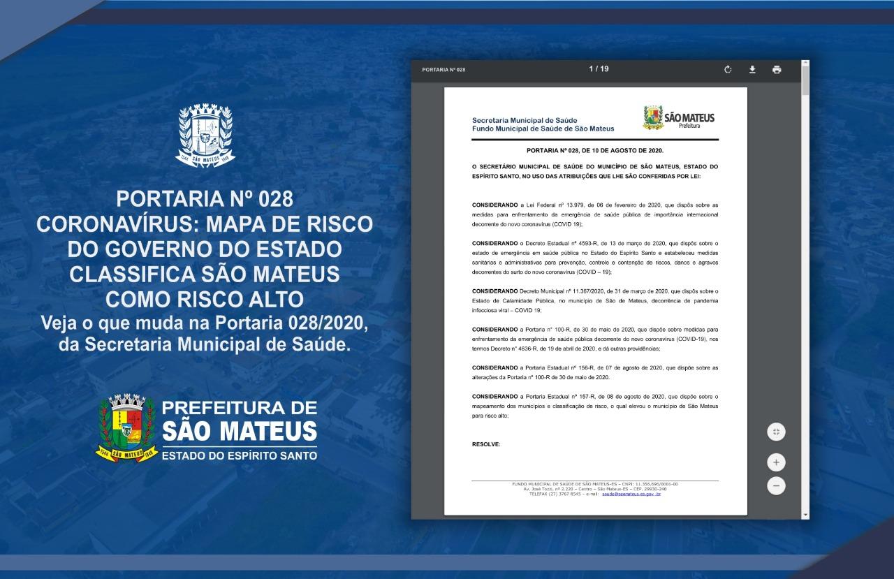 CORONAVÍRUS: MAPA DE RISCO DO GOVERNO DO ESTADO CLASSIFICA SÃO MATEUS COMO RISCO ALTO