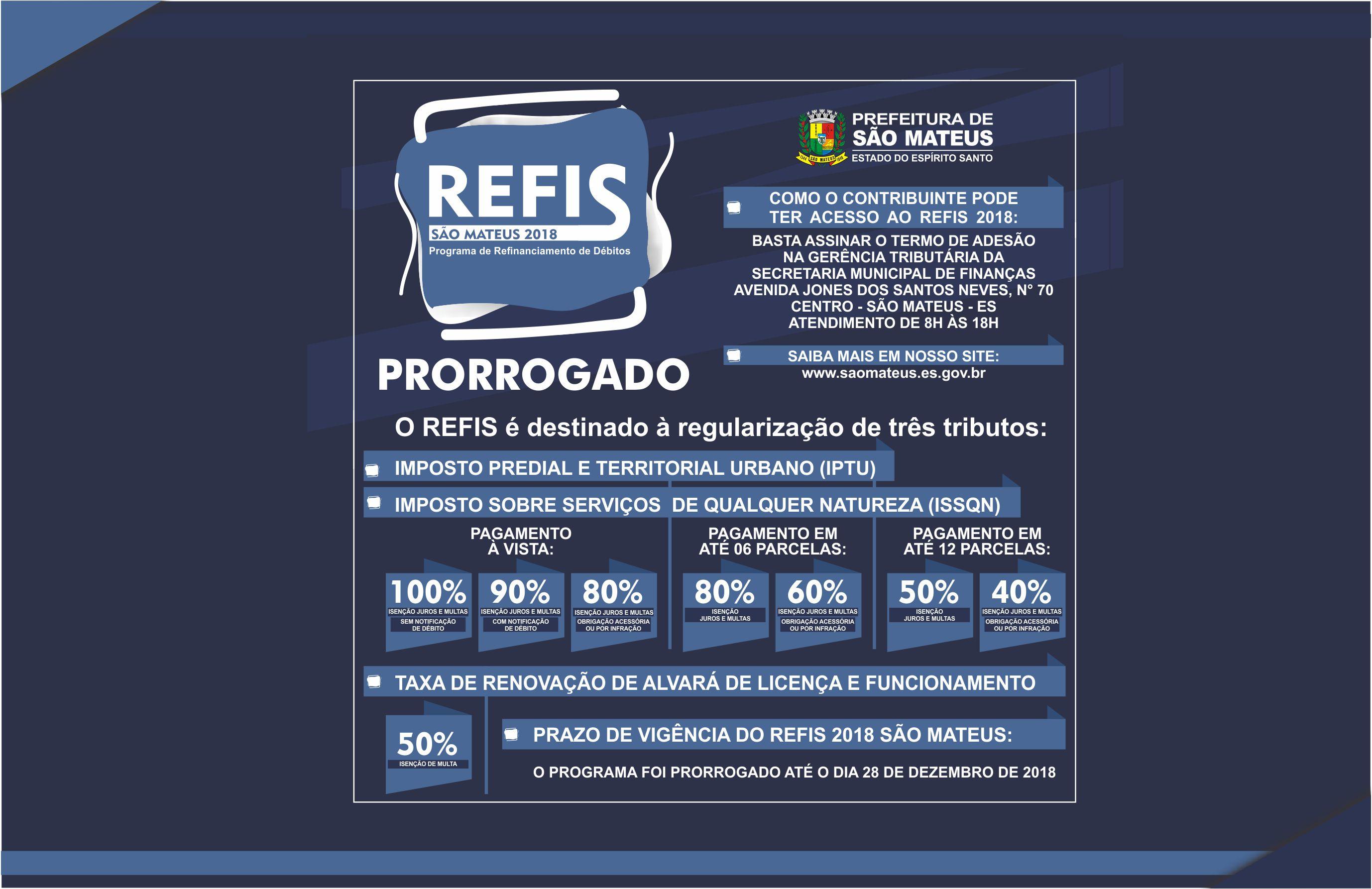 REFIS 2018 Prorrogado por mais 45 dias (Até o dia 28 de Dezembro)