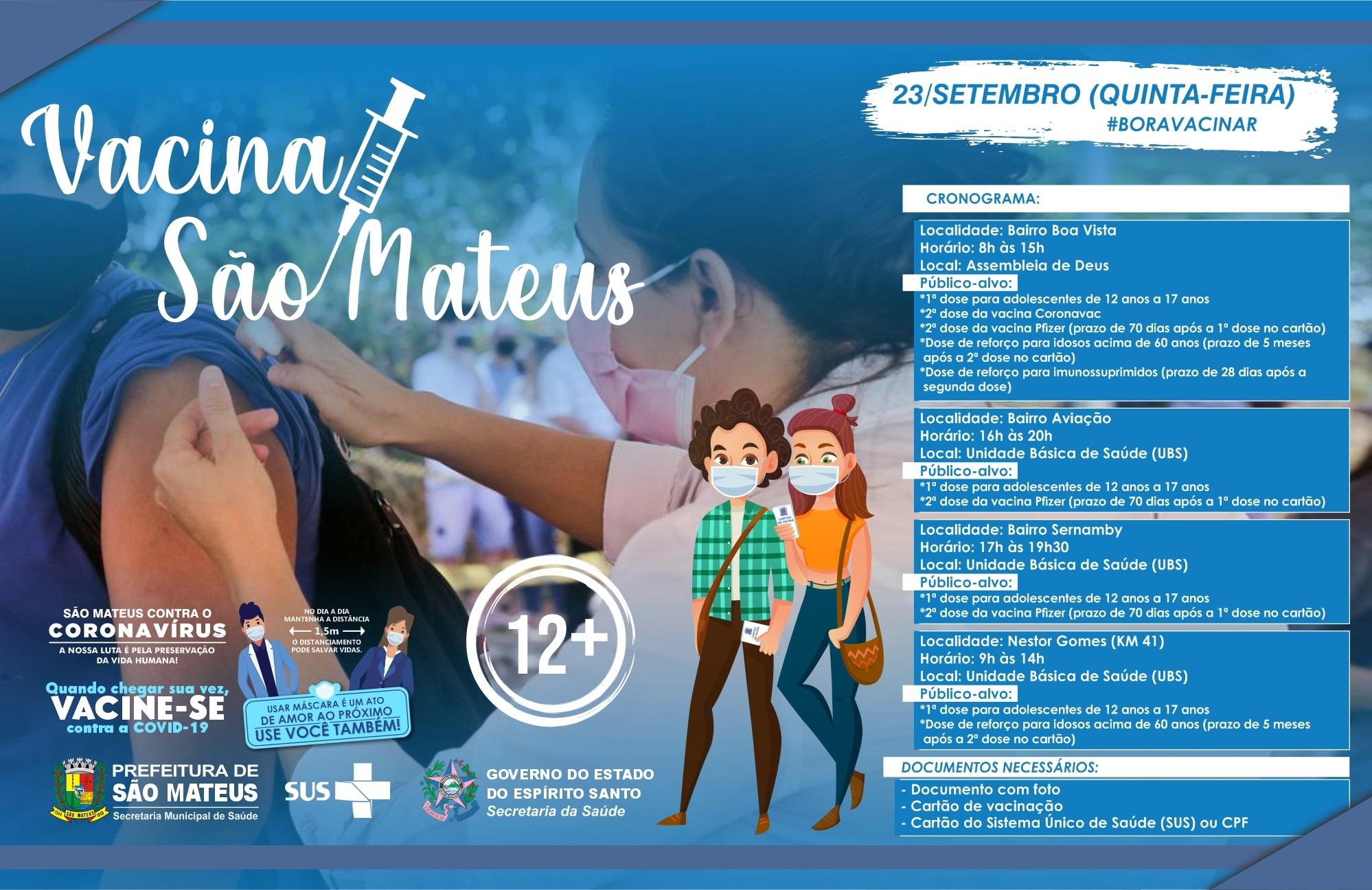 NESTA QUINTA-FEIRA (23) TEM VACINAÇÃO CONTRA COVID EM NESTOR GOMES (KM 41) E NOS BAIRROS: BOA VISTA, SERNAMBY E AVIAÇÃO