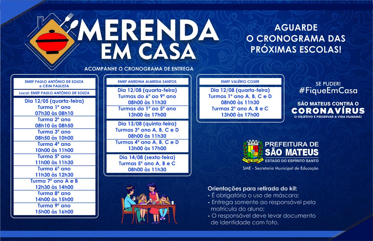 DÉCIMO PRIMEIRO CRONOGRAMA: PREFEITURA DE SÃO MATEUS INICIA NOVA ETAPA DE ENTREGA DA CESTA MERENDA EM CASA