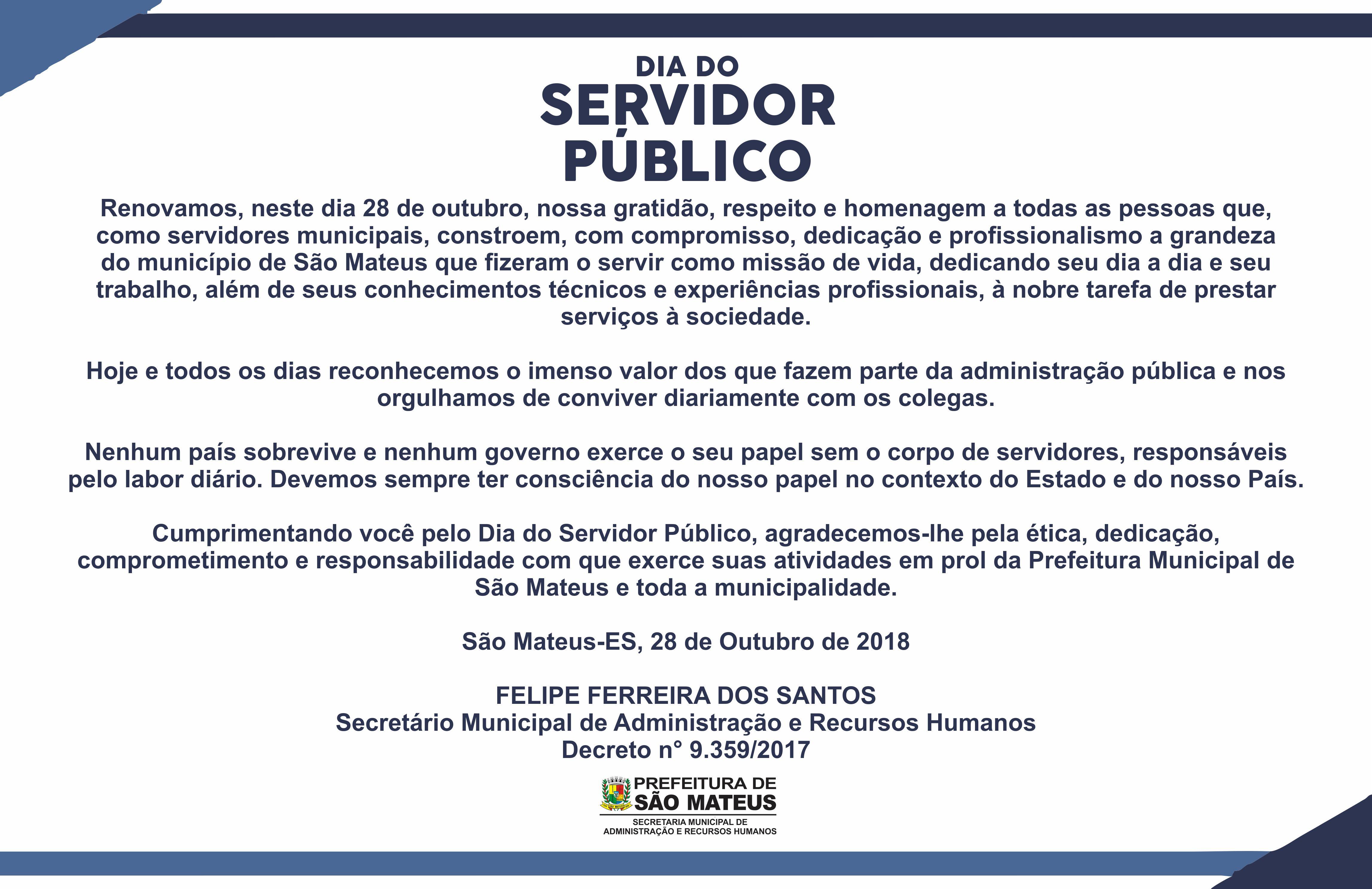 Secretaria Municipal de Administração e Recursos Humanos Parabeniza a você Servidor Público