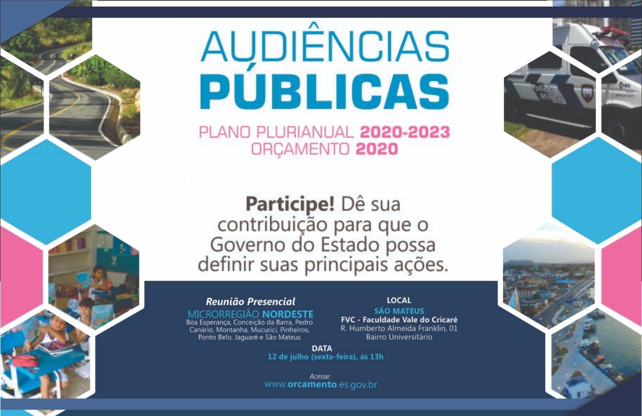 GOVERNO DO ESTADO DEBATE PLANO PLURIANUAL E ORÇAMENTO EM SÃO MATEUS NESTA SEXTA