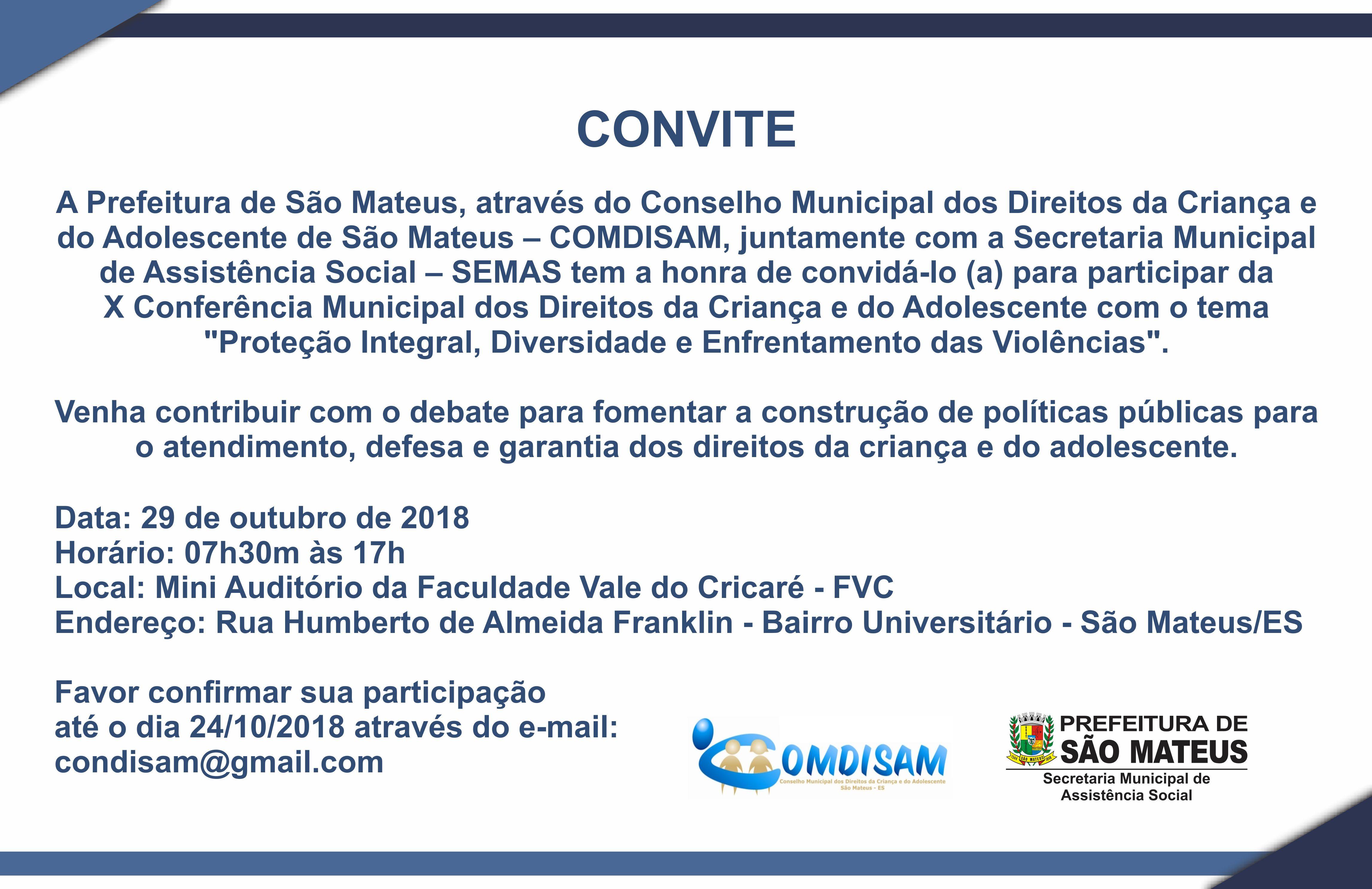 Convite X Conferência Municipal dos Direitos da Criança e do Adolescente