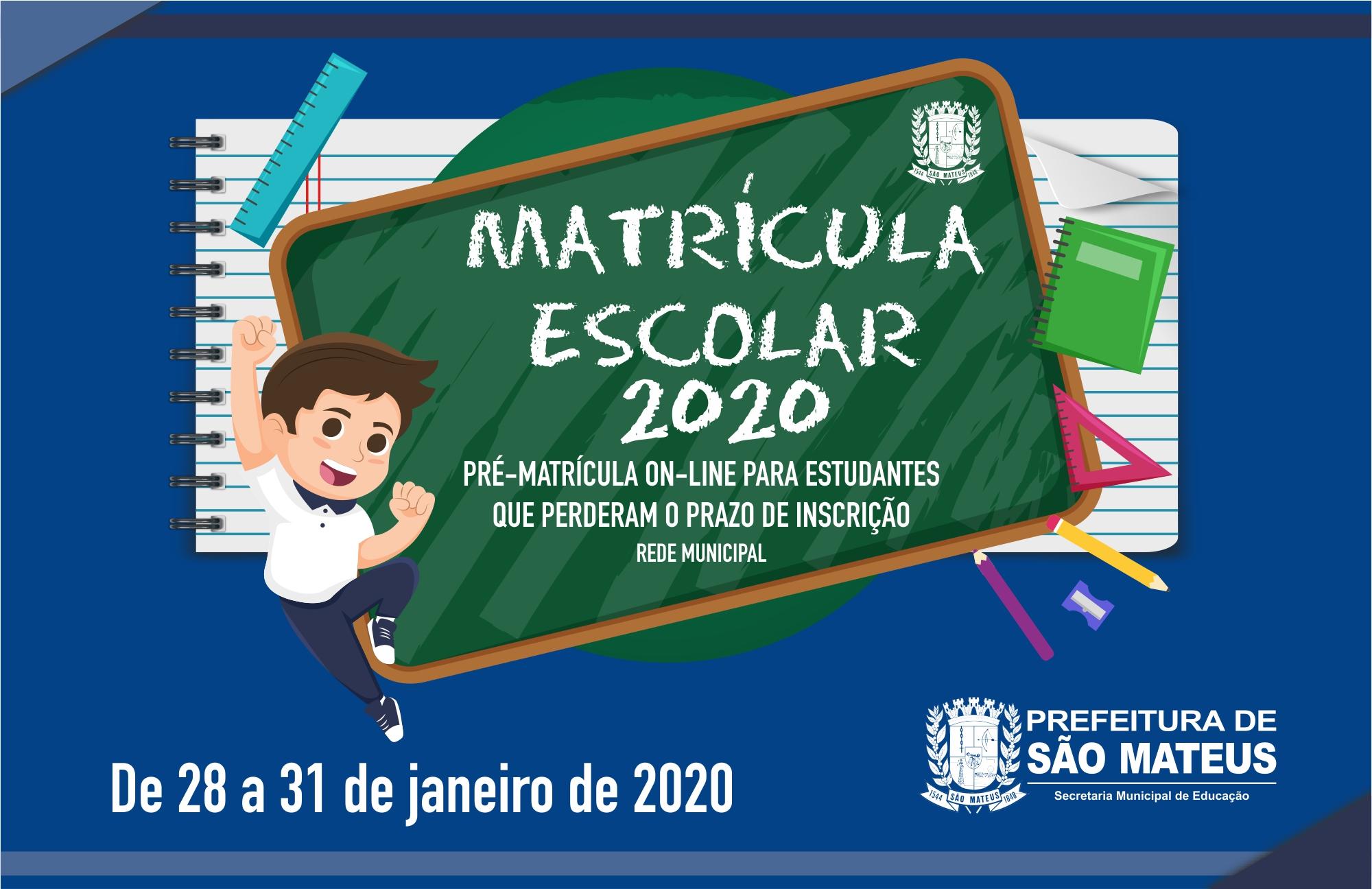 SECRETARIA MUNICIPAL DE EDUCAÇÃO ABRE PRÉ-MATRÍCULA PARA OS ESTUDANTES QUE PERDERAM O PRAZO