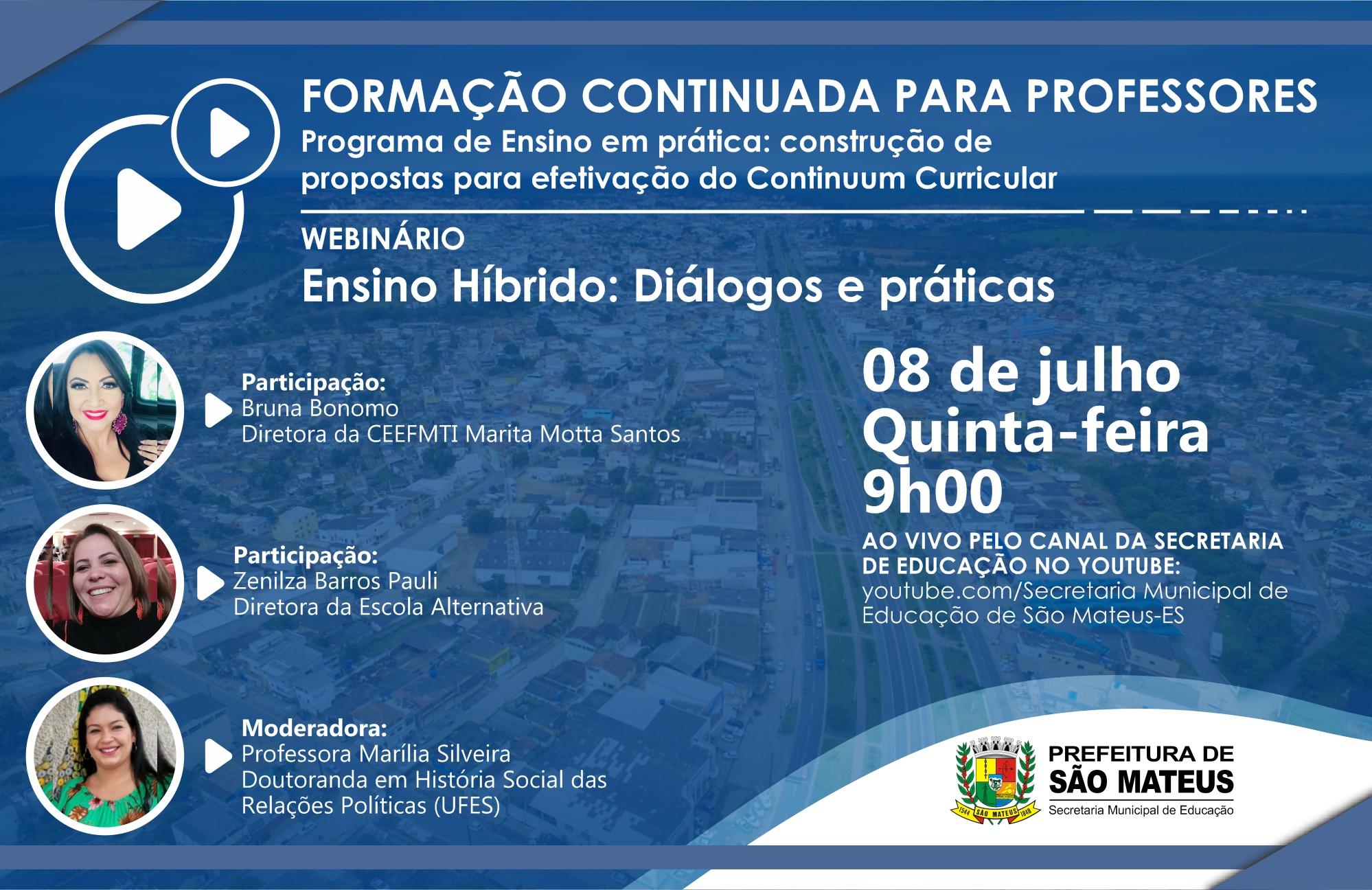 EDUCAÇÃO PROMOVE WEBINÁRIO SOBRE ENSINO HÍBRIDO NESTA QUINTA-FEIRA