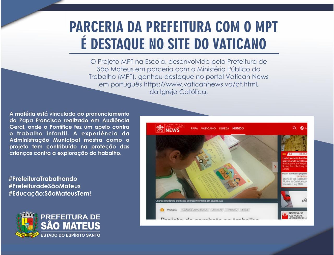 PARCERIA DA PREFEITURA COM O MPT É DESTAQUE NO SITE DO VATICANO