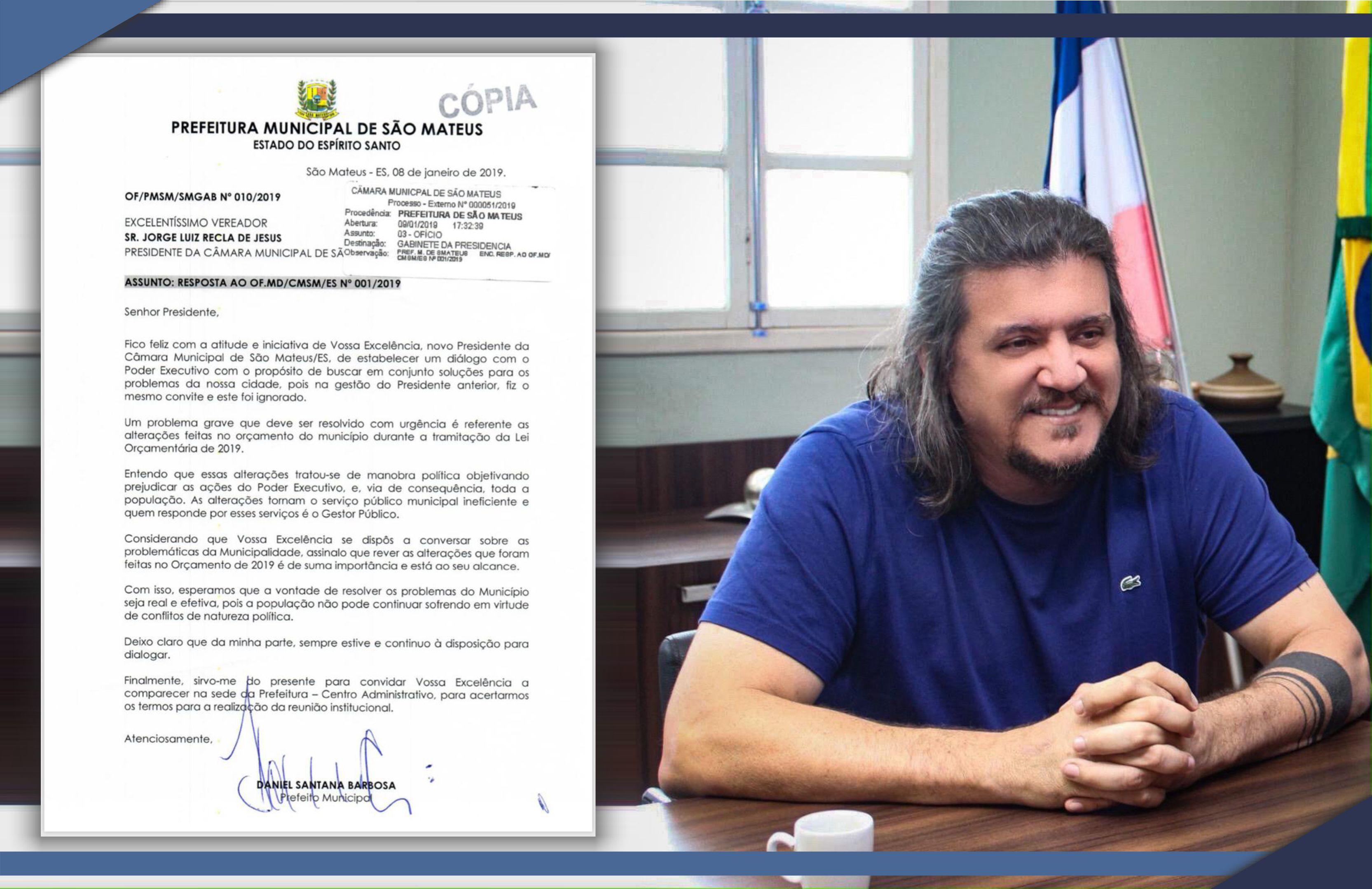Prefeito Daniel Santana responde convite do Presidente da Câmara Municipal de Vereadores