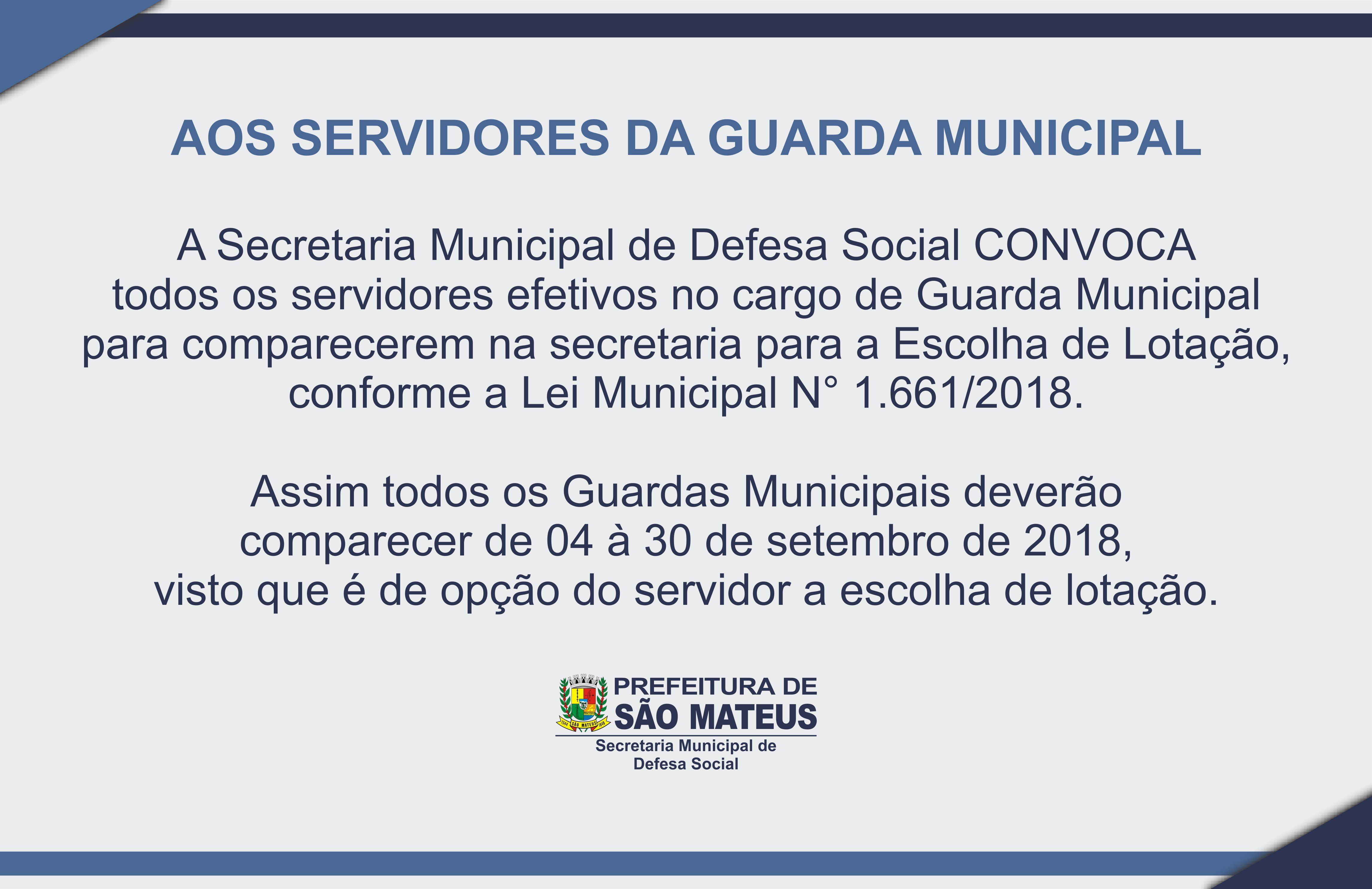 Comunicado aos Servidores da Guarda Municipal