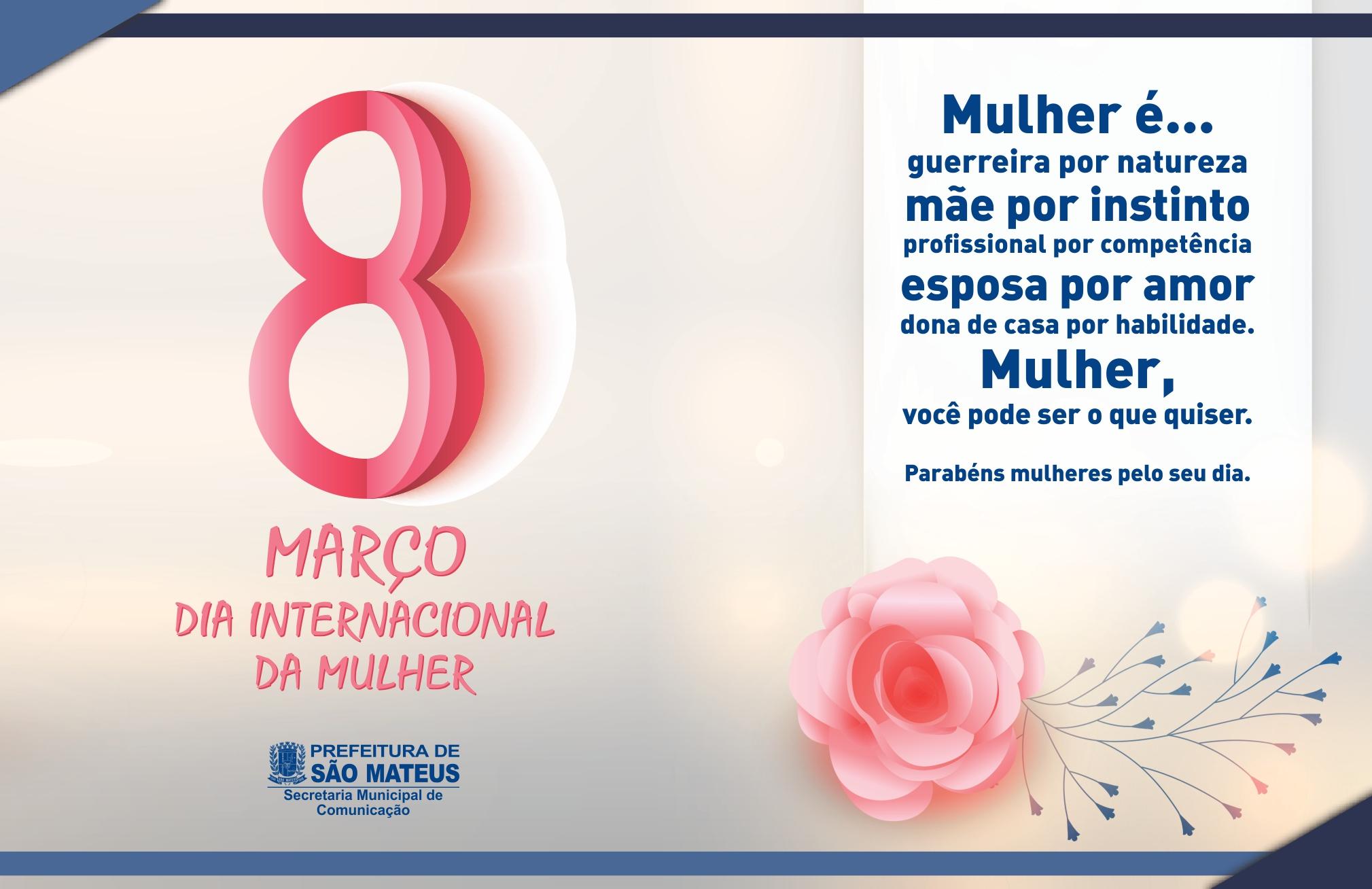 Mensagem: 08 de Março - Dia Internacional da Mulher