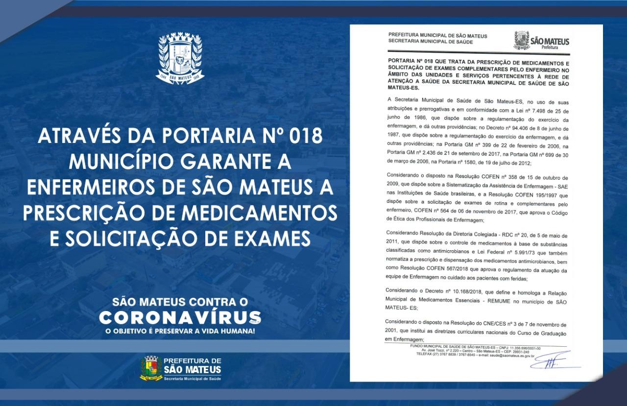 MUNICÍPIO GARANTE A ENFERMEIROS DE SÃO MATEUS A PRESCRIÇÃO DE MEDICAMENTOS E SOLICITAÇÃO DE EXAMES